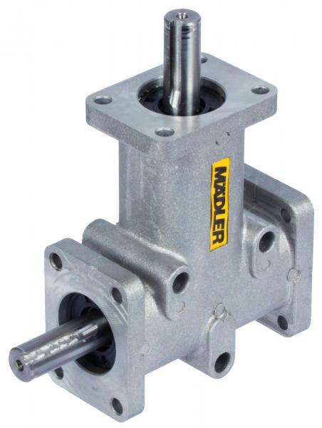 Kegelradgetriebe - Vom einfachen Winkelgetriebe mit gespritzten Zahnrädern bis zum hochbelastbaren, kubischen Kegelradgetriebe für industrielle Anwendungen bietet MÄDLER eine große Auswahl.