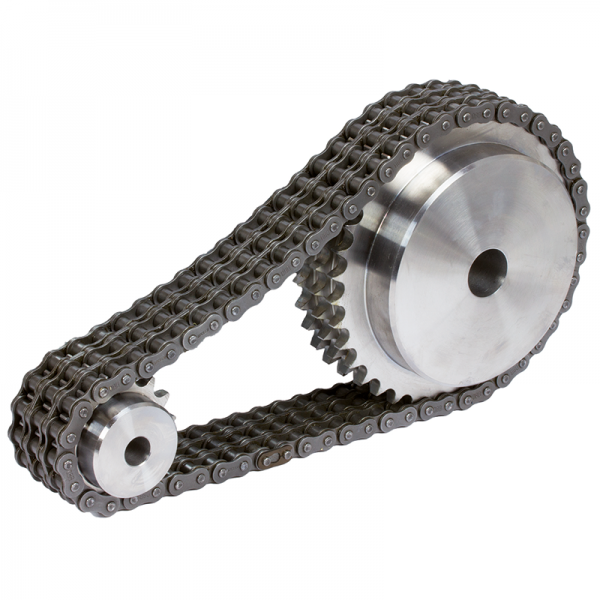 Rollenketten, Kettentriebe - Rollenketten DIN ISO 606 (DIN 8187) als Standardausführung, mit geraden Laschen, wartungsfrei, als Winkellaschenketten, Flachlaschenketten sowie Kettenräder und Ritzel sind aus Vorrat lieferbar.
